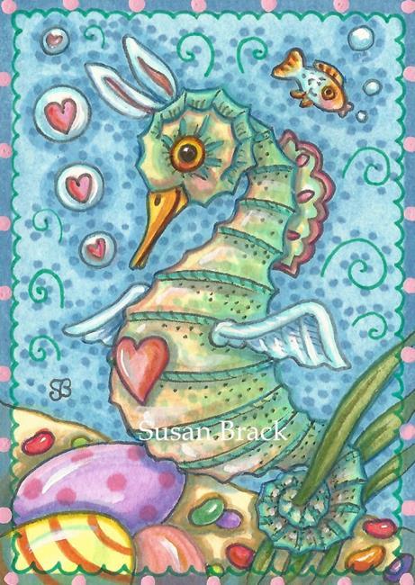 Art: EASTER FANTASY SEAHORSE by Artist Susan Brack