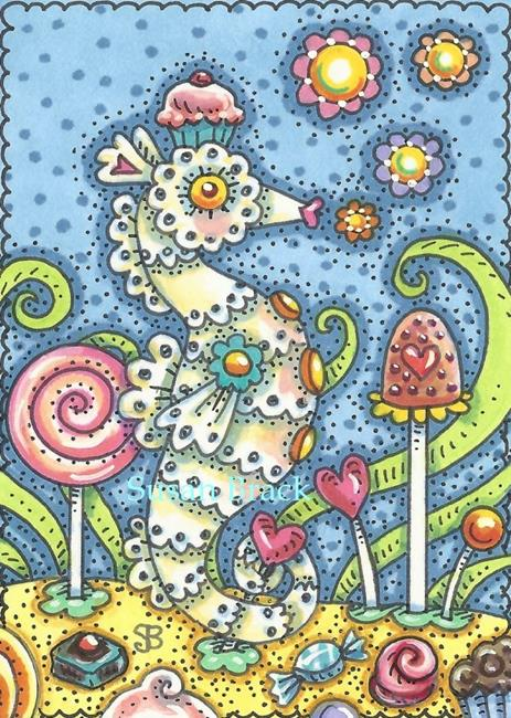 Art: CANDY LAND SEAHORSE by Artist Susan Brack