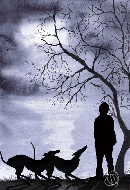 Art: GREYHOUNDS IN MOONLIGHT g707 by Artist Dawn Barker