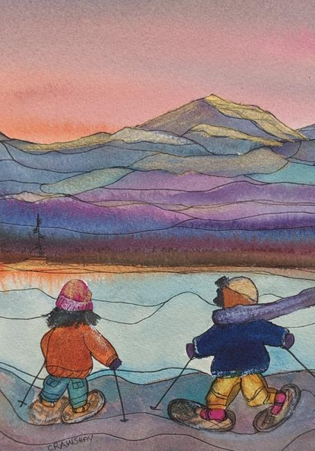 Art: Winter Fun (sold) by Artist Kathy Crawshay