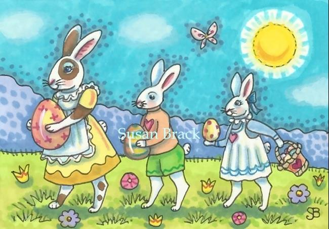 Art: EASTER PARADE BUNNIES by Artist Susan Brack