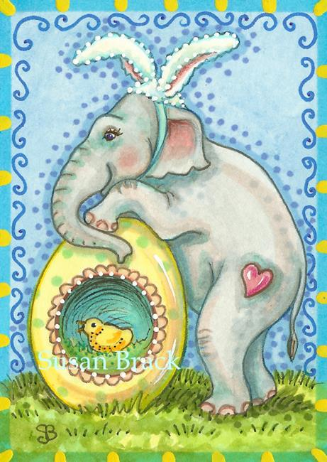 Art: ELLA'S EGG HUNT by Artist Susan Brack