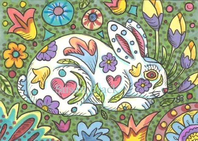 Art: PAINTED RABBIT Folk Art by Artist Susan Brack