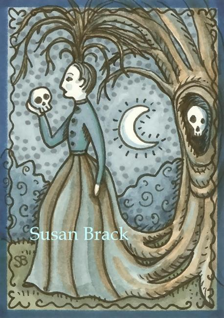 Art: MOURNING ART WOMAN AND SKULL by Artist Susan Brack