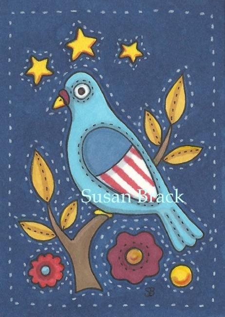 Art: AMERICANA APPLIQUE BLUEBIRD QUILT BLOCK by Artist Susan Brack