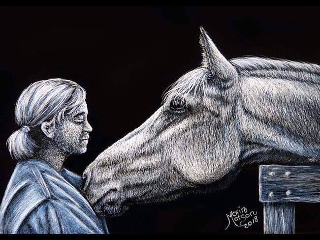 Art: Love of a Horse  (SOLD) by Artist Monique Morin Matson