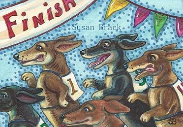 Art: DACHSHUND DASH TO THE FINISH LINE by Artist Susan Brack