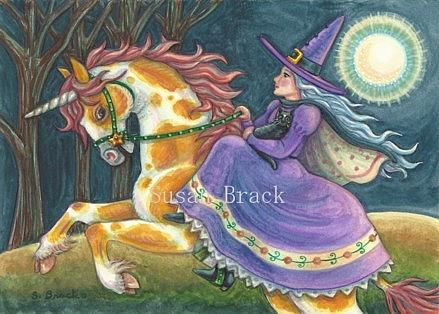 Art: HALLOW'S EVE RIDE  ON A PUMPKIN PINTO by Artist Susan Brack