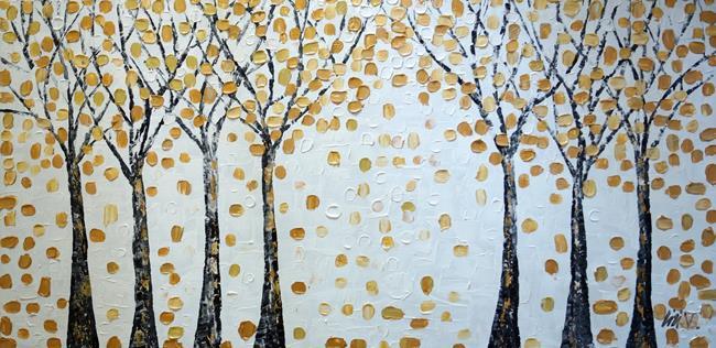 Art: Gold Birch trees by Artist LUIZA VIZOLI