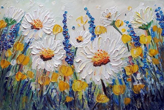 Art: Lavender Chamomile Flowers by Artist LUIZA VIZOLI