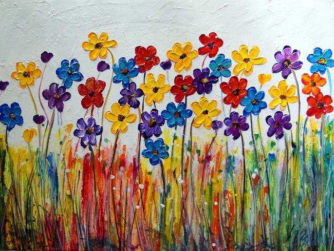 Art: Flowers Rainbow Colors by Artist LUIZA VIZOLI