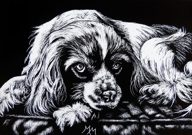 Art: Spaniel  (SOLD) by Artist Monique Morin Matson