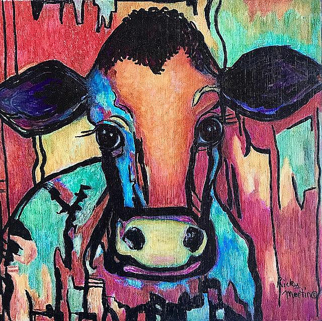 Art: Abstract Cow - sold by Artist Ulrike 'Ricky' Martin