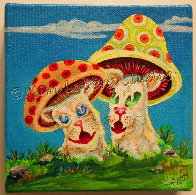 Art: Sweet Talkin' Cat - Shrooms by Artist Kim Loberg