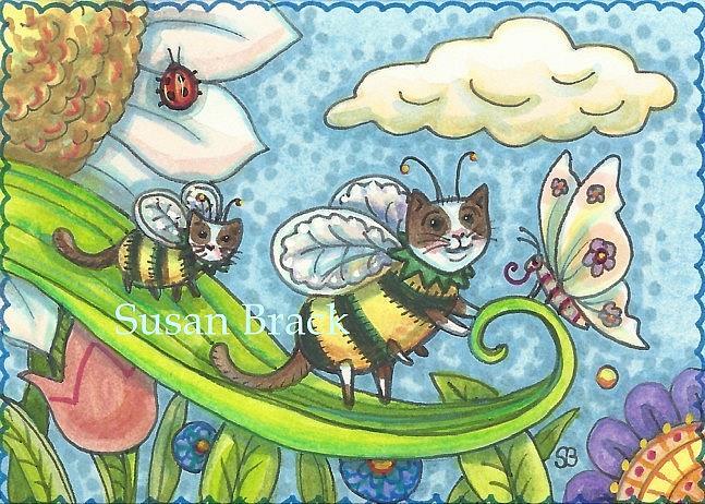 Art: BUMBLECATS - BUTTERFLY GREETINGS by Artist Susan Brack