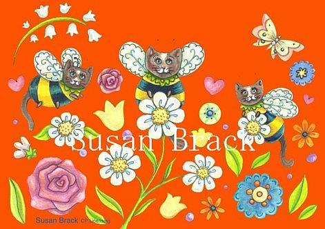 Art: PLANT A BUMBLECAT GARDEN - ORANGE by Artist Susan Brack
