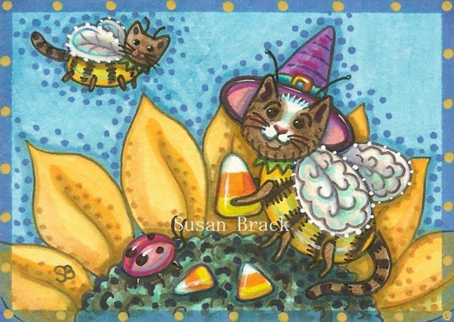 Art: BUMBLECATS AND CANDY CORN by Artist Susan Brack