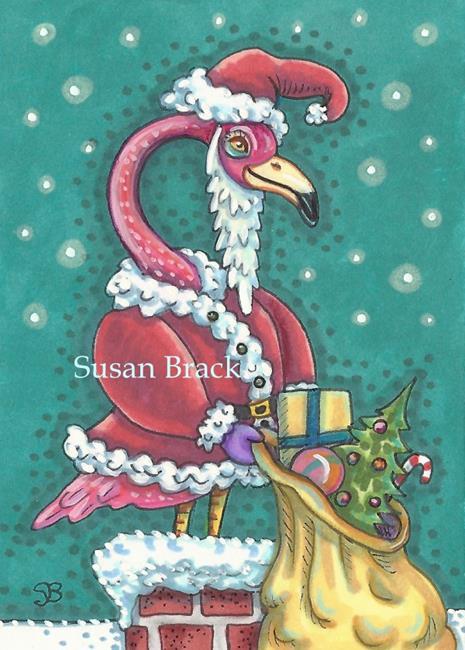 Art: HOT PINK SANTA by Artist Susan Brack