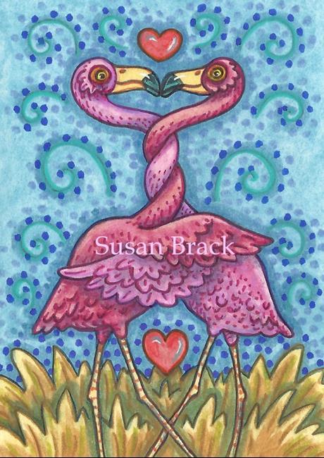 Art: FLAMINGO VALENTINE by Artist Susan Brack