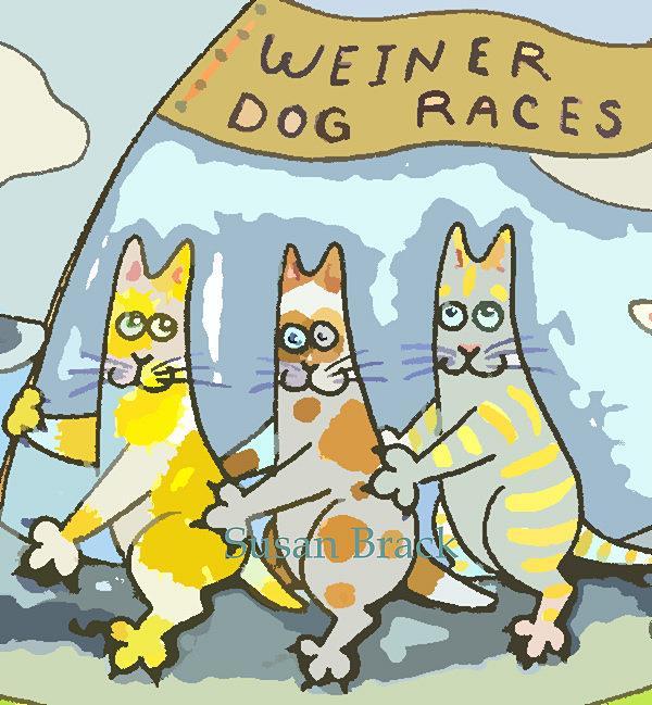 Art: HISS N FITZ - WEINER DOG RACES cropped by Artist Susan Brack
