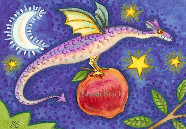 Art: FLYING APPLE PICKER by Artist Susan Brack