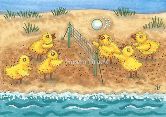 Art: BIRDS OF A FEATHER PLAY VOLLEY BALL TOGETHER by Artist Susan Brack