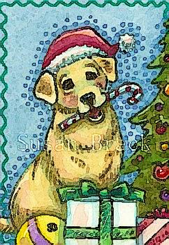 Art: A HAPPY LAB HOLIDAY SEASON by Artist Susan Brack