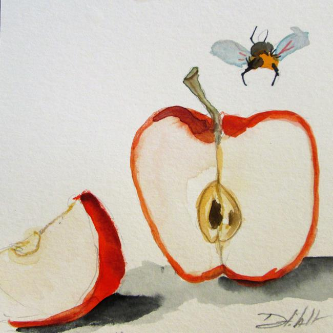 Art: Apple and Bee by Artist Delilah Smith
