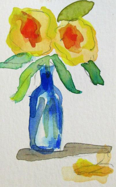 Art: Flowers in a Blur Bottle by Artist Delilah Smith