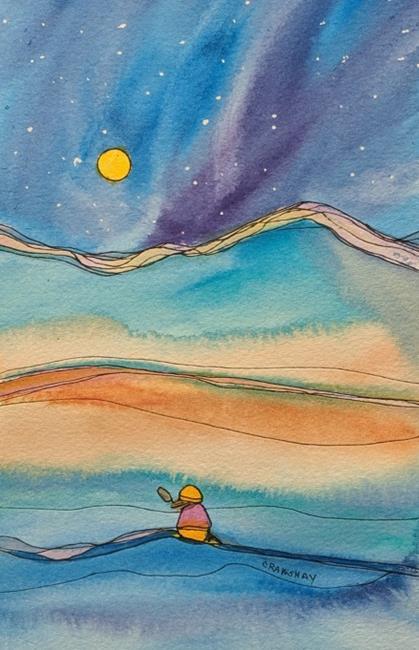 Art: Moonrise (sold) by Artist Kathy Crawshay