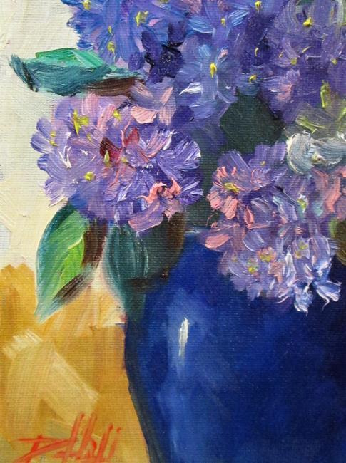 Art: Hydrangea's in a Blue Vase by Artist Delilah Smith
