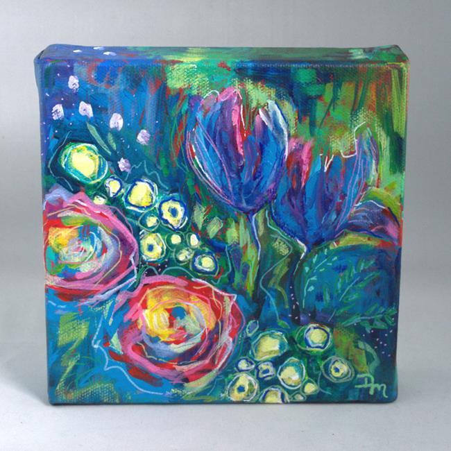 Art: GardenJewels1&2_SrpinginYourStepsseries_Acrylicandacrylicpensoncanvas5_6X6_ by Artist Dana Marie
