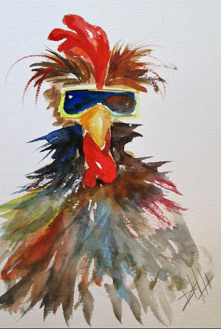 Art: Rooster in Sunglasses by Artist Delilah Smith