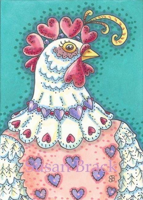Art: VALENTINE HEN by Artist Susan Brack