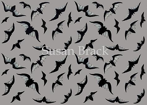 Art: BATS - Gray Repeat Design by Artist Susan Brack