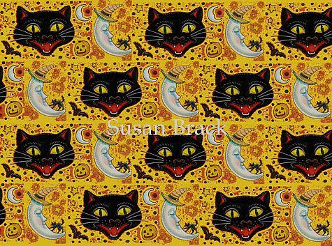 Art: BLACK CAT CONFETTI Yellow Repeat Design by Artist Susan Brack
