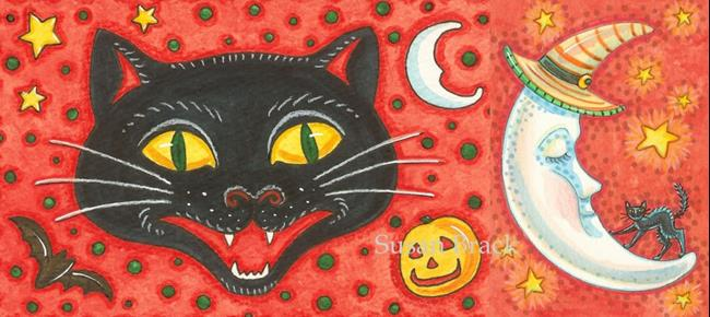 Art: BLACK CAT CONFETTI / CRESCENT MOON by Artist Susan Brack