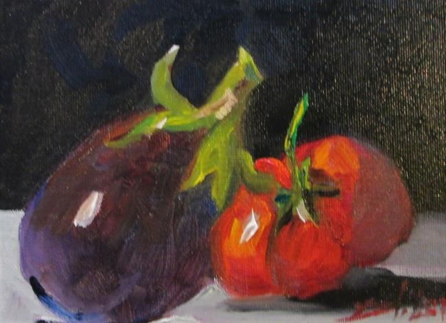 Art: Eggplant and Tomato by Artist Delilah Smith