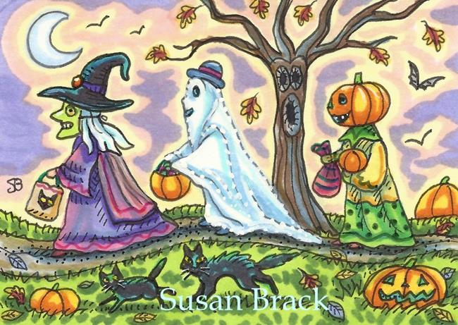 Art: NIGHT OF TRICK OR TREATS by Artist Susan Brack