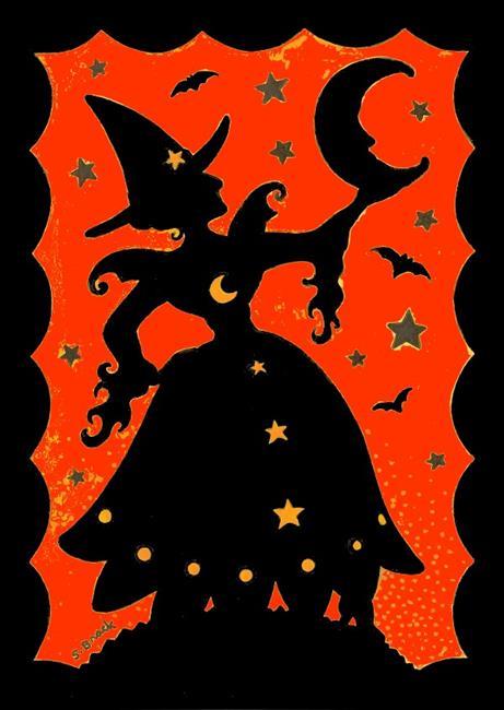 Art: MOON CATCHER Black/Orange by Artist Susan Brack