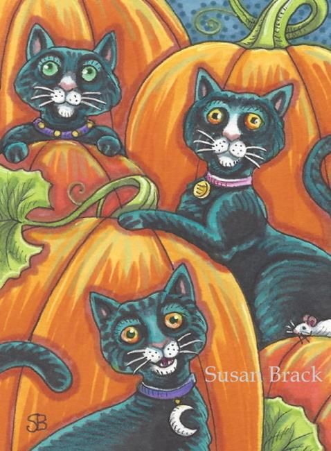 Art: BLACK CAT PUMPKIN PATCH by Artist Susan Brack