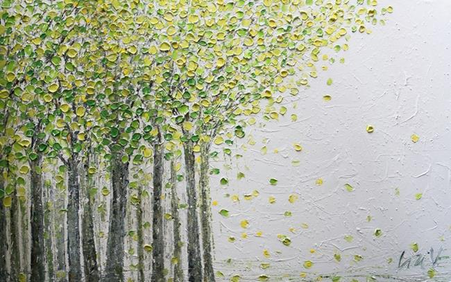 Art: SOFT GREEN SPRING BIRCH TREES by Artist LUIZA VIZOLI