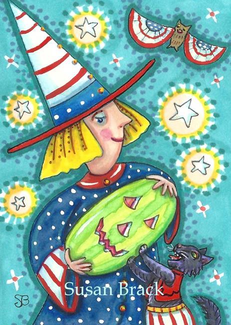 Art: WATERMELON JACK - Fourth Of July Halloween by Artist Susan Brack