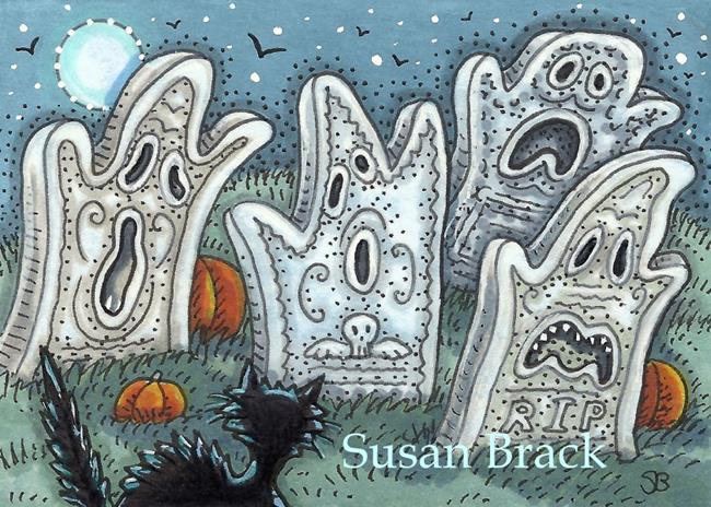 Art: SPOOKY CEMETERY by Artist Susan Brack