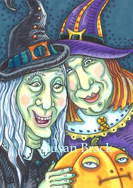 Art: SISTERS AND GRUMPY PUMPKIN by Artist Susan Brack