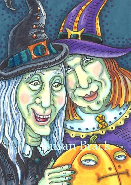 Art: SISTERS AND GRUMPY PUMPKIN by Artist Susan Brack