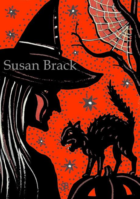 Art: SHADOWS OF HALLOWEEN Orange/Black by Artist Susan Brack