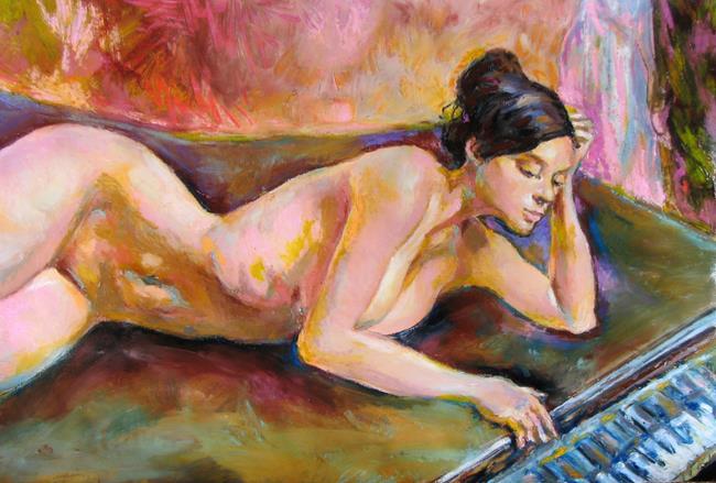 Art: Etude lying nude by Artist Luda Angel