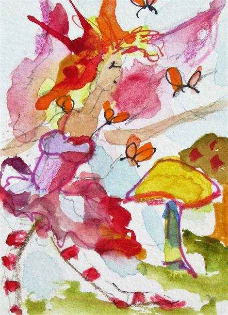 Art: Butterfly Fairy and Mushrooms-sold by Artist Delilah Smith