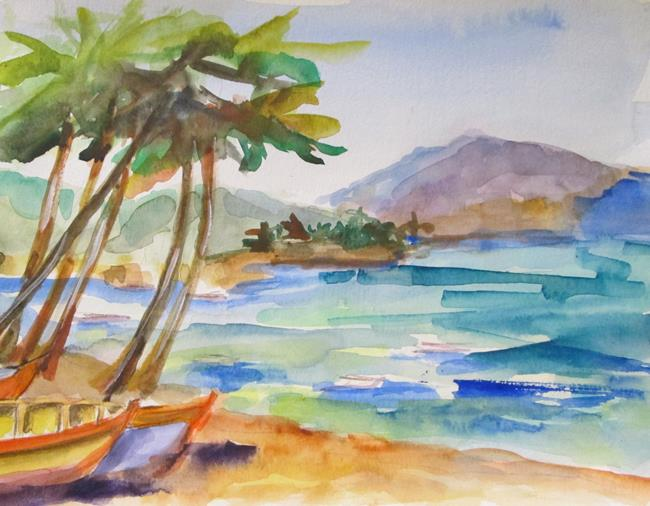 Art: Palm Trees and Seascape by Artist Delilah Smith